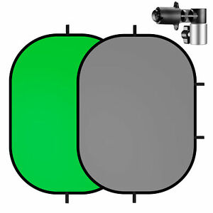 Selens 2in1 Green Grey Background Panel with Clip for YouTube Videos Photo