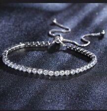 925 Silver Solid Luxury Sparkling Zirconia Cubic Adjustable Tennis Bracelet Thin
