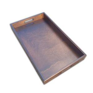 Wooden Serving Large Tray, Set 1 to 10, 50 cm x 30 cm x 5.4 cm, - Dark Brown