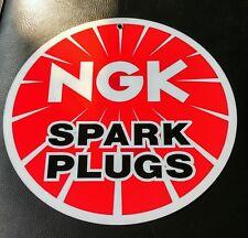 """NGK Spark Plug Mancave  Gasoline gas oil sign ...~12"""" round"""