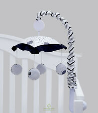 Black White Flower Pattern Musical Mobile By OptimaBaby