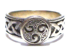VINTAGE THICK STERLING SILVER IRISH IRELAND KNOT CELTIC RING BAND SIZE 8.25