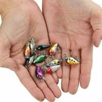 10PCS Fishing Hooks Baits Minnow Fish Lures Crank Bass Crankbaits Tackle Sinking