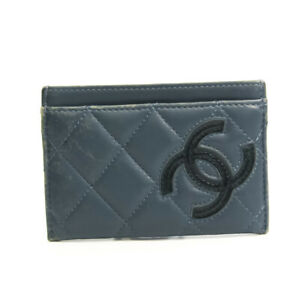 Chanel Cambon Line Leather Leather Card Case Navy BF532818