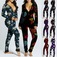 Women Sexy Jumpsuit Long Sleeve Pajama Bum Open Homewear Button Flap Bodysuit