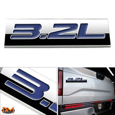 """3.2L"" Polished Metal 3D Decal Blue Emblem Exterior Sticker For Ford/Jeep/Volvo"