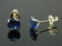 333 Gold Ohrstecker mit 3 Krappen 4 mm Grösse mit echten Saphiren