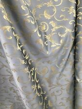 BLUE GOLD Brocade Flower Floral Upholstery Fabric (110 in.) Sold BTY