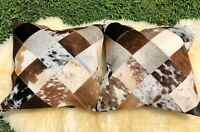 "Cowhide Pillows Cushion Covers Leather Real Cow Hide Skin Patchwork 16"" x 16"""