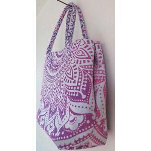 Indian Mandala Women Tote Shoulder Handbag Lady Cotton Satchel Purse Throw Pink