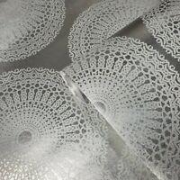 Modern lace Glassbeads textured silver Metallic lines Wallpaper 3D Glass beads