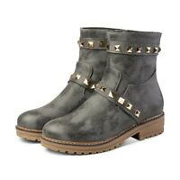Womens Fashion Punk Round Toe Rivet Motorcycle Boots Chunky Heel Ankle Boots