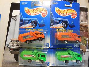 hot wheels recycling truck #143 VARIATION LOT 4 Blue Card BLACKWALL ORANGE GREEN