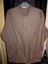 Men's LEE COOPER brown long sleeve shirt size L - Large Button down collar strip