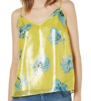 Bar III Womens Yellow Size Small S Shine Shimmer Floral Print Cami Top $49 561