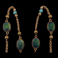 """54"""" Antique Gold Long Necklace, 6 Green Trojan Glass Cabochons & Beads, Vintage"""