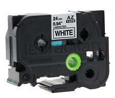 """Brother Compatible TZ251 P-Touch 1"""" 24mm Gloss Black on White Tape TZ-251"""