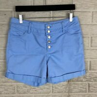 "Roebuck & Co Girls Button Fly Shorts Size 16.5 Blue Cuffed Modest 4.5"" Casual"