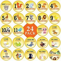"""Animal Stickers for Baby's Milestones - 24 Pack - 4"""" Stickers"""