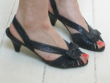 Office Black glittery Real Leather Bow strappy Sandals Med High Heels 37 New