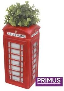 Traditional Red Telephone Box Planter Garden Ornament