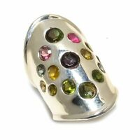 Multi Tourmaline Natural Gemstone 925 Sterling Silver Ring Size 7.5 SR-451