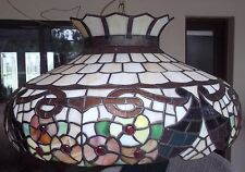 """24"""" Vintage Huge Tiffany Style Stained Glass Hanging Lamp"""