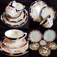 Rare Antique (1890s) 12 Piece Crown Derby Bone China Cups, Saucers & Cake Plates