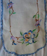 """Vintage Linen Table Runner Purple Embroidered Flowers Blue Crochet Lace 40"""""""