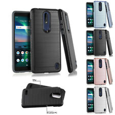 FOR NOKIA 3.1 PLUS BRUSHED METAL TEXTURE IMPACT HYBRID CASE COVER+STYLUS
