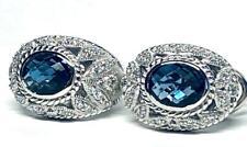 Dazzling Judith Ripka Sterling, Swiss Blue Topaz & Diamonique Earrings