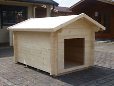 Hundehütte XXL 34mm-Wandstärke 19mm-Fussboden Satteldach Massivholz Natur