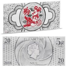 Disney Dollar notes - Mickey Year of the Dog silver coin note Niue 20 cents 2018