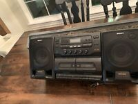 Sony CFD-565 Dual Cassette CD Boom Box All In One Mega Bass Black Radio Tape