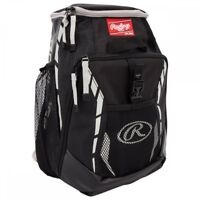 BASEBALL BACKPACK EQUIPMENT BAG ~ Rawlings Youth 2-Bat Black Back Pack ~ New!