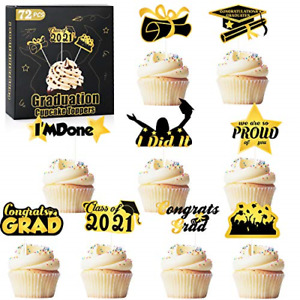 Graduation Cupcake Toppers 2021 Party Decorations 72 PCS - Class of 2021 Cake