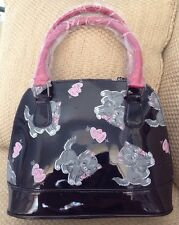 NWT IRON FIST SMALL DOME SATCHEL BLACK KITTIES & HEART SOLD OUT SUPER CUTE PURSE