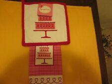 Hugs & Kisses Potholder & Kitchen Towel Valentine's Day or Everyday New