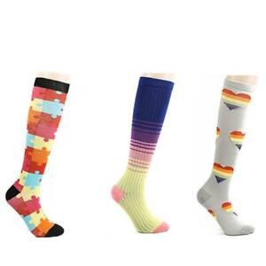 Lady Rainbow Stripes Knee Socks Cotton Breathable Adult Jacquard Shape Stockings