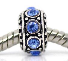 March Birthstone Blue Rhinestone Spacer Ring Charm for European Bead Bracelets