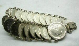 Vintage Heavy Silver American Dime And Quarter Dollar Bracelet Coins 1939 - 1958