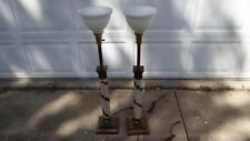 """VINTAGE PAIR NEOCLASSICAL STIFFEL TORCHIERE LAMPS w/ milk glass shade 38"""" tall"""