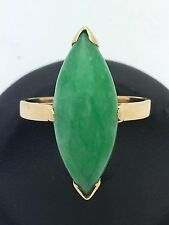 New Women's Solid 14K Yellow Gold Oval Green Jade Gemstone Ring Size 8.5, 5.7 g
