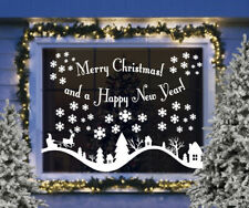 CHRISTMAS WINDOW STICKERS DECORATIONS Merry Christmas snow hills