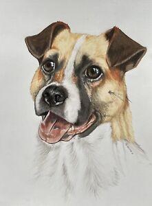 "MONGREL portrait animal dog blink eye pet 8""x10"" A4 original drawing by ArtKaska"