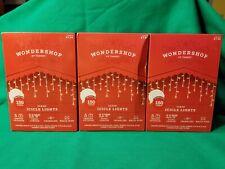 Lot of 3 Wondershop Twinkling 150 Clear Icicle Lights Indoor/Outdoor New