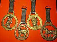 ANTIQUE EDWARDIAN BRASS HORSE MEDALLIONS ENGLISH MANX CAT DEVONSHIRE PIXIE LOT 4