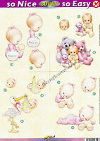 Morehead Baby Girl In Pink Die Cut 3D Decoupage Sheet Card Making NO CUTTING REQ
