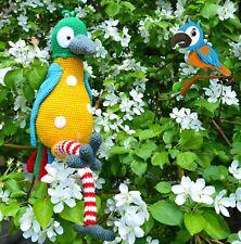 Crochet parrot Stuffed animal Knitted toy Amigurumi raibow