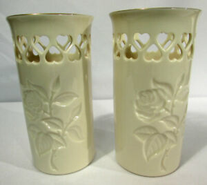"""Lenox China Vase (2) Pierced Heart Collection Roses 5 3/4"""" 24K Gold Trim"""